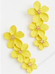 Yellow Floral Statement Earrings, , alternate