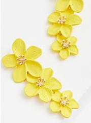 Yellow Floral Statement Earrings, , hi-res