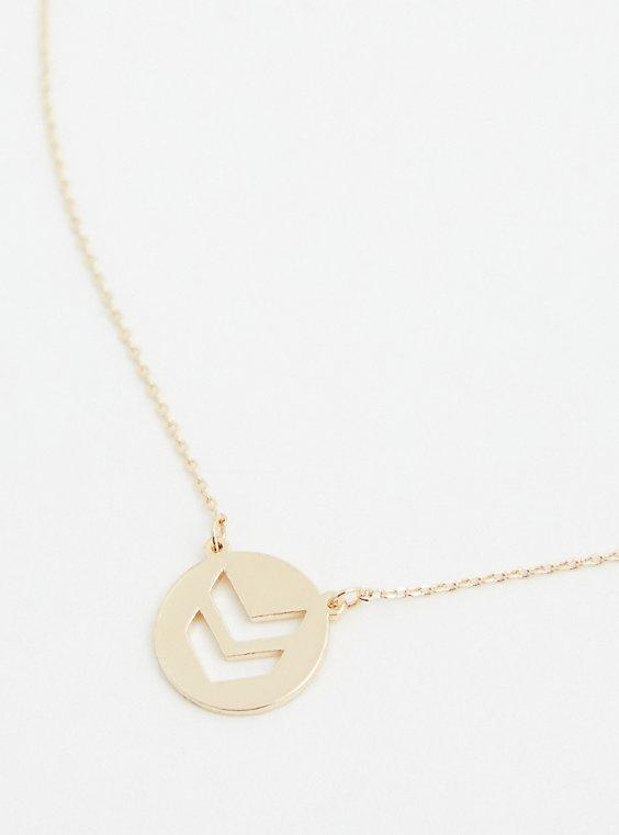 Gold-Tone Chevron Delicate Necklace, , hi-res