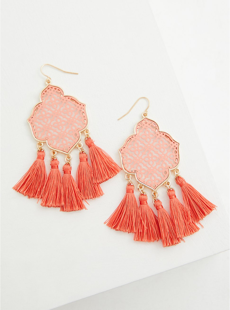 Peach Filigree Tassel Statement Earrings, , hi-res