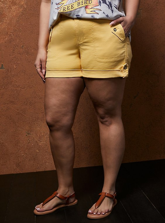 Yellow Military Twill Short, SUNDRESS, hi-res