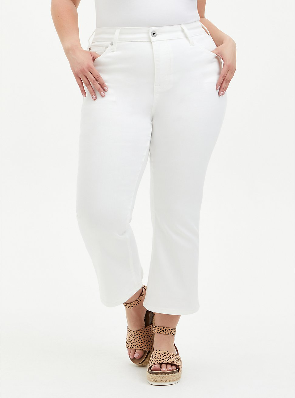 Crop Mid Rise Flare Jean - Super Soft White, WINTER WHITE, hi-res