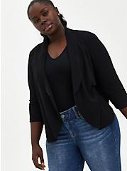Black Drape Crepe Blazer, DEEP BLACK, hi-res
