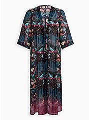 Multi Ikat Maxi Kimono Swim Cover-Up , MULTI, hi-res