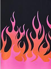Black Flames Pushup Tankini Swim Top, DEEP BLACK, alternate