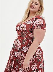 Super Soft Red Floral Handkerchief Skater Dress, FLORAL - RED, alternate