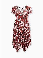 Super Soft Red Floral Handkerchief Skater Dress, FLORAL - RED, hi-res