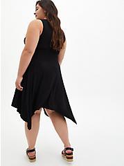Super Soft Black Handkerchief Skater Dress, DEEP BLACK, alternate