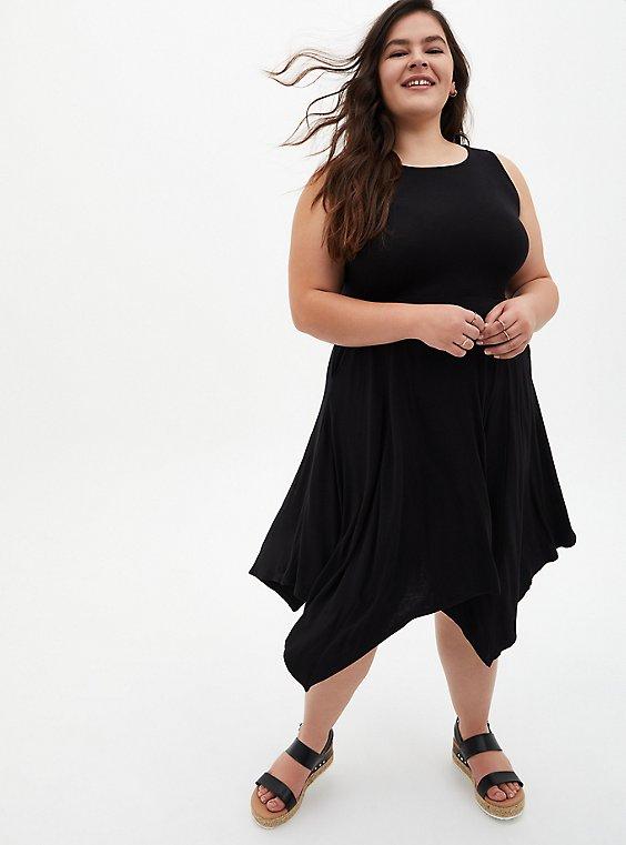 Super Soft Black Handkerchief Skater Dress, DEEP BLACK, hi-res
