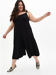 Super Soft Black Culotte Jumpsuit, DEEP BLACK, hi-res