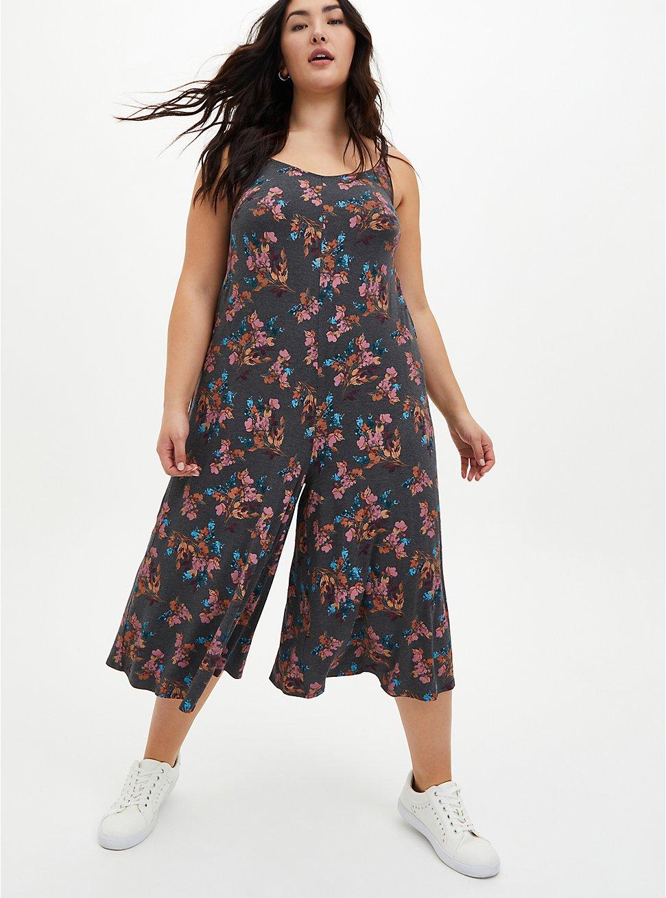 Super Soft Grey Floral Culotte Jumpsuit, FLORAL - GREY, hi-res