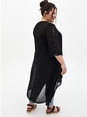 Black Lace-Up Sleeve Hi-Lo Chiffon Kimono, DEEP BLACK, alternate