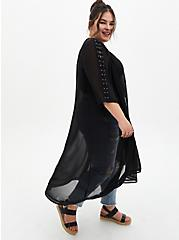 Black Lace-Up Sleeve Hi-Lo Chiffon Kimono, DEEP BLACK, hi-res
