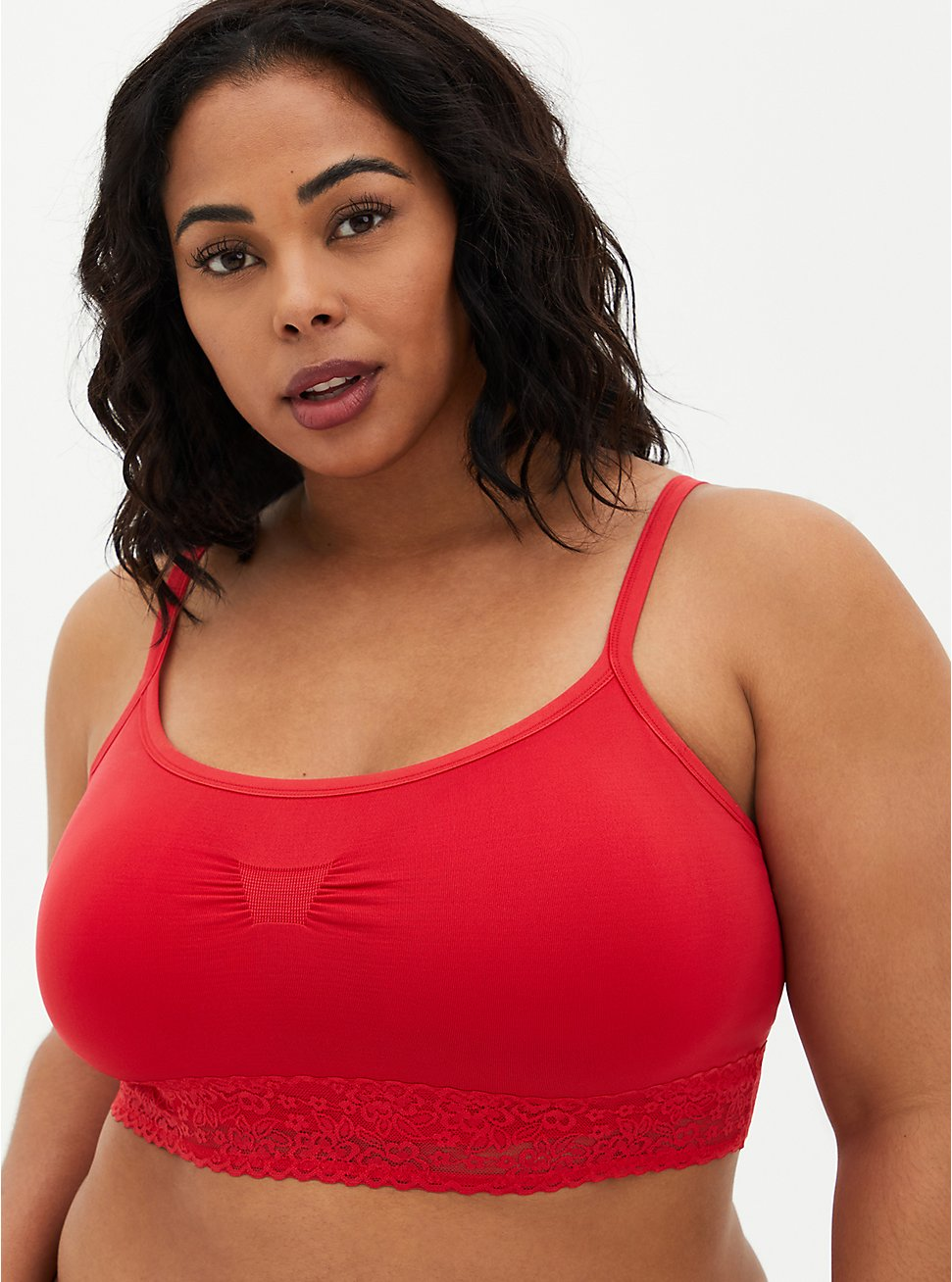 Red Lightly Padded Seamless Bralette, SCARLET, hi-res