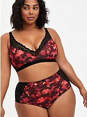 Plus Size Deep V-Neck Padded Bralette - Microfiber Lace Floral Red, DRAMATIC BLOOMS RED, alternate