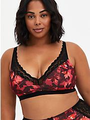 Plus Size Deep V-Neck Padded Bralette - Microfiber Lace Floral Red, DRAMATIC BLOOMS RED, hi-res