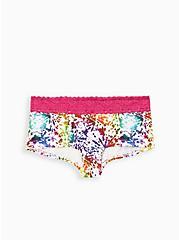 Celebrate Love Wide Lace Boyshort Panty - Cotton Tie-Dye, TIE DYE EXPLOSION WHITE, hi-res