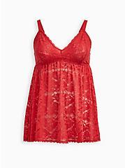Red Lace Babydoll, SCARLET, hi-res