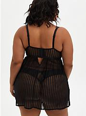 Black Striped Mesh Underwire Babydoll, RICH BLACK, alternate