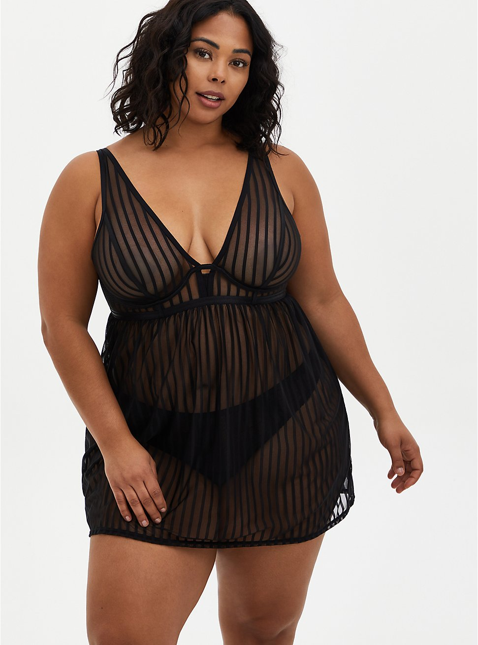 Black Striped Mesh Underwire Babydoll, RICH BLACK, hi-res