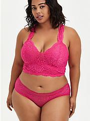 Plus Size Racerback Bralette - Lace Pink, BEET ROOT PINK, alternate