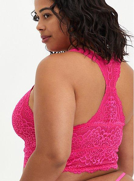 Racerback Bralette - Lace Pink, BEET ROOT PINK, alternate