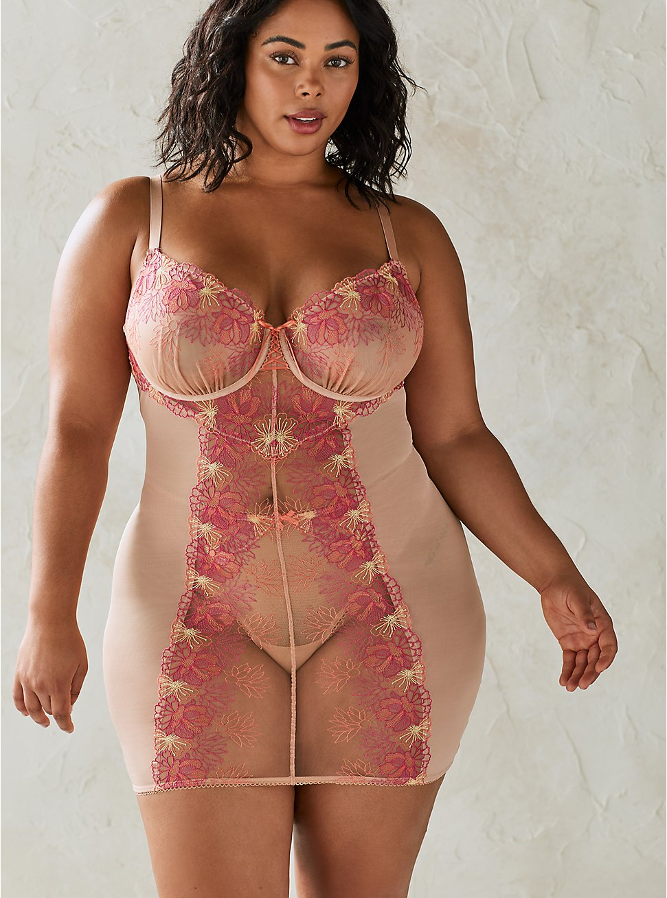 Embroidered Mesh Strappy Chemise, ROSE DUST, hi-res