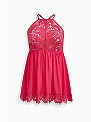 Mesh & Lace Halter Babydoll - Pink, BEET ROOT PINK, hi-res
