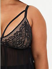 Mesh & Lace Strappy Babydoll - Black, RICH BLACK, alternate