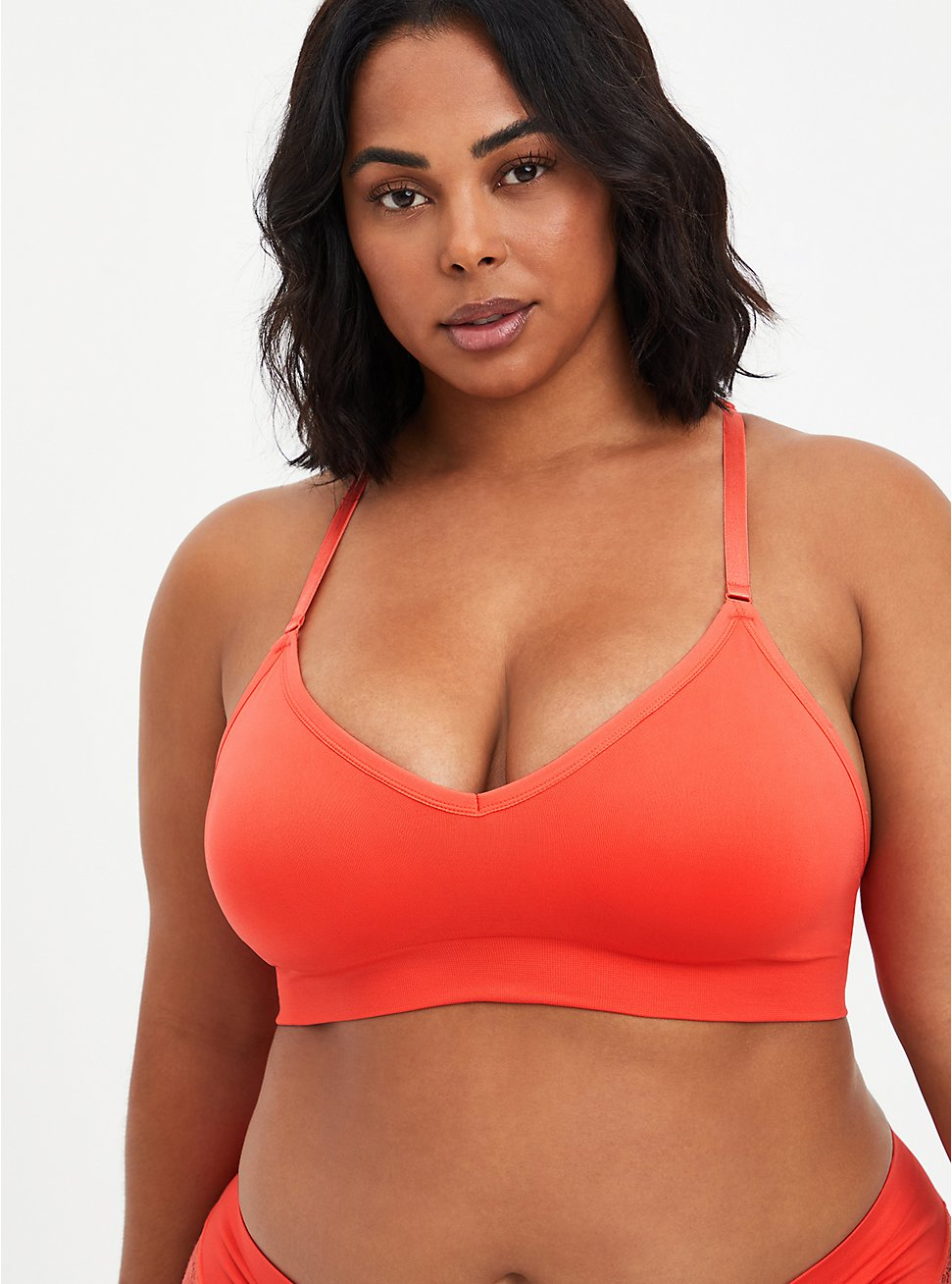 Racerback Lightly Padded Seamless Flirt Bralette - Coral Lace, CORAL, hi-res