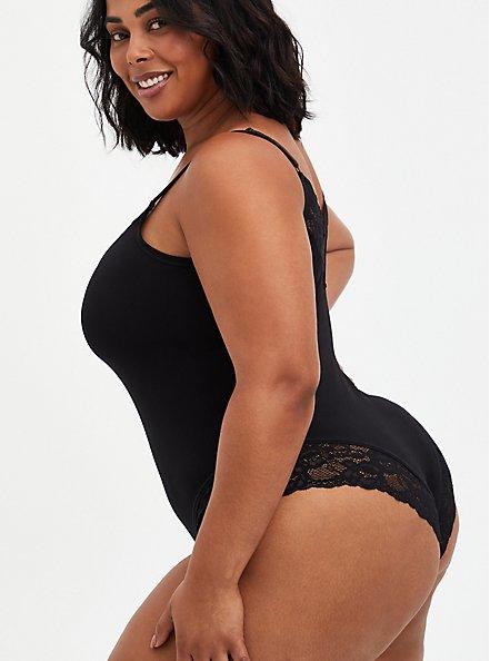 Scoop Neck Seamless Flirt Bodysuit - Black Lace , RICH BLACK, alternate