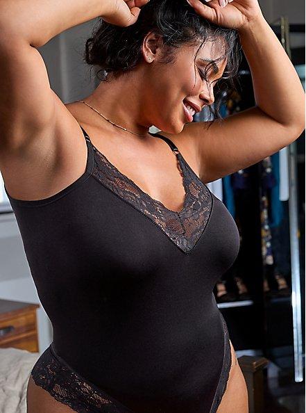Scoop Neck Seamless Flirt Bodysuit - Black Lace , RICH BLACK, hi-res