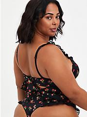 Black Cherries Ruffle Trim Back Bow Underwire Bodysuit, CHERRY, alternate