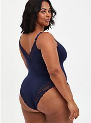 Blue Lace Scoop Neck Seamless Flirt Bodysuit, PEACOAT, alternate