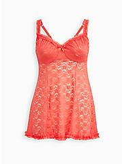 Plus Size Underwire Unlined Babydoll - Lace Coral, CORAL, hi-res
