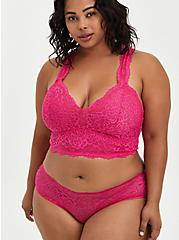 Hipster Cage Back Panty - Pink Lace , BEET ROOT PINK, alternate