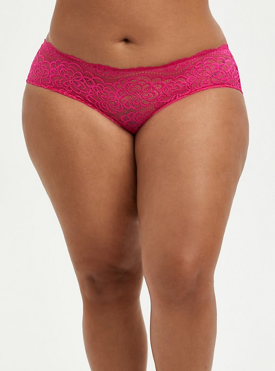 Hipster Cage Back Panty - Pink Lace , BEET ROOT PINK, hi-res
