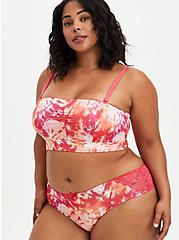 Plus Size Hipster Panty - Microfiber & Lace Tie-Dye Pink + Orange, ICON DYE PINK, alternate