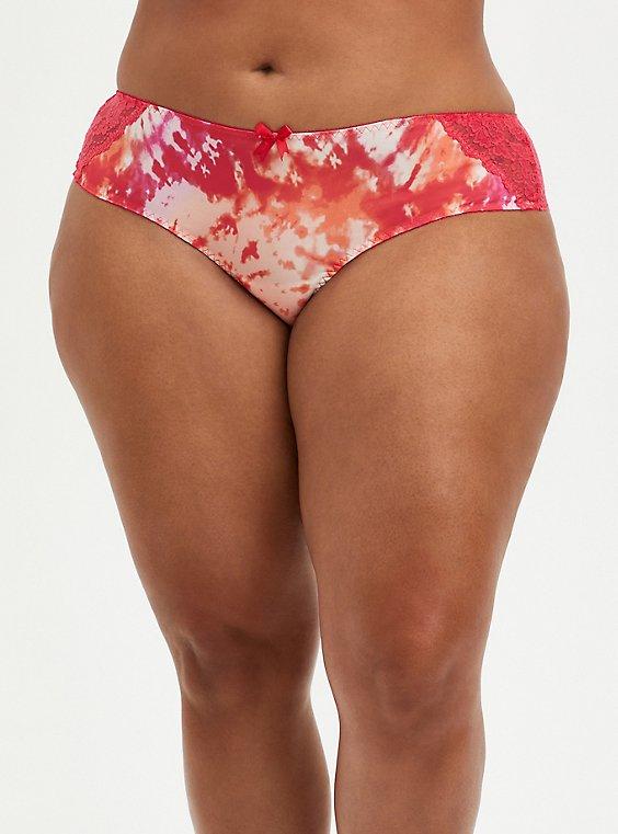 Plus Size Hipster Panty - Microfiber & Lace Tie-Dye Pink + Orange, ICON DYE PINK, hi-res