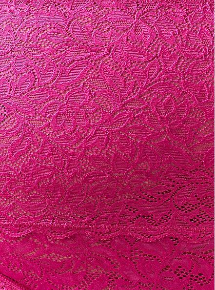 Plus Size Pink Lace 4 Way Stretch Thong Panty, FESTIVAL FUCHSIA, alternate