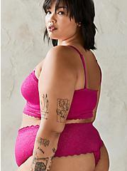 Pink Lace 4 Way Stretch Thong Panty, FESTIVAL FUCHSIA, alternate