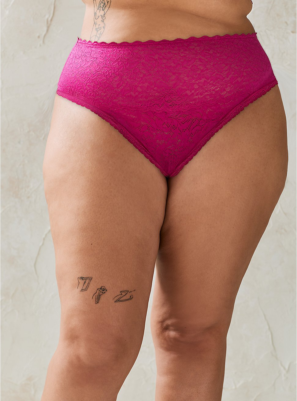 Pink Lace 4 Way Stretch Thong Panty, FESTIVAL FUCHSIA, hi-res