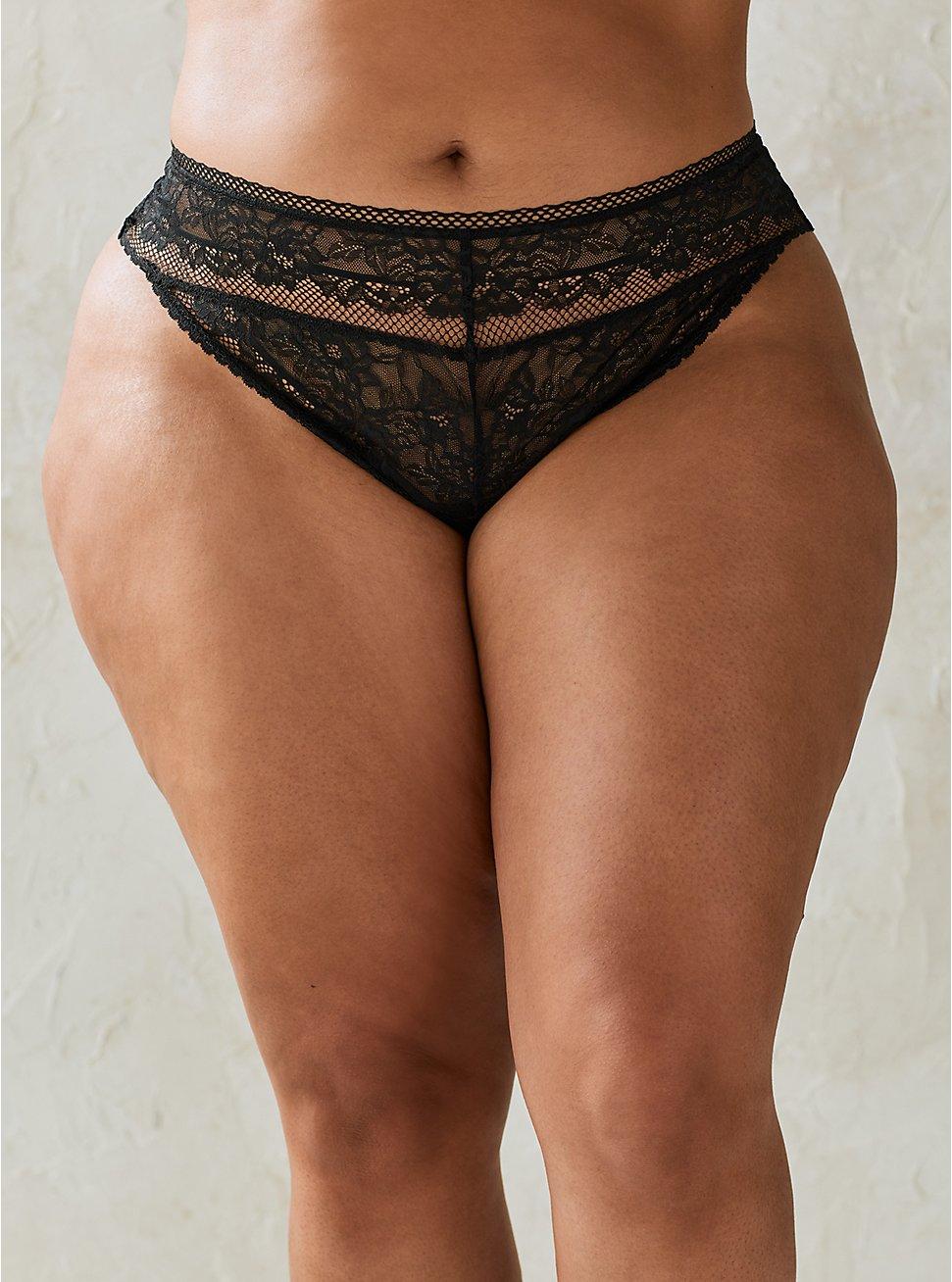 Thong Panty - Lace Black, RICH BLACK, hi-res
