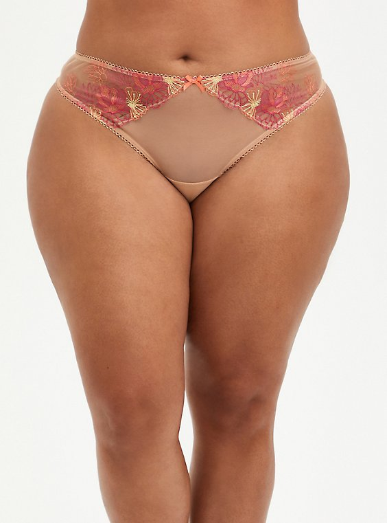 Embroidered Mesh Cut Out Thong Panty, , hi-res