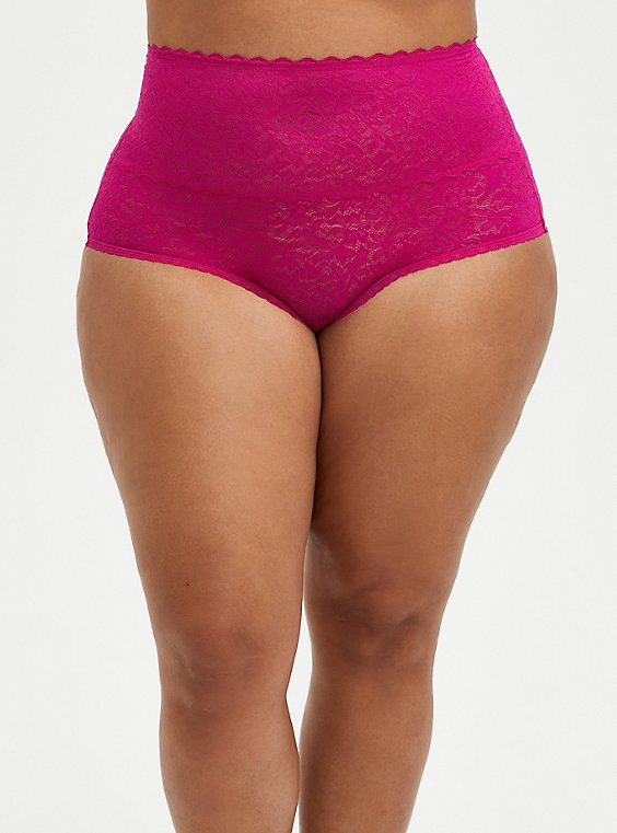 Pink Lace 4 Way Stretch Brief Panty, FESTIVAL FUSCHIA, hi-res