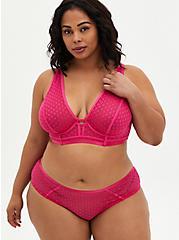 Pink Dot Mesh Cage Back Hipster Panty, BEET ROOT PINK, alternate