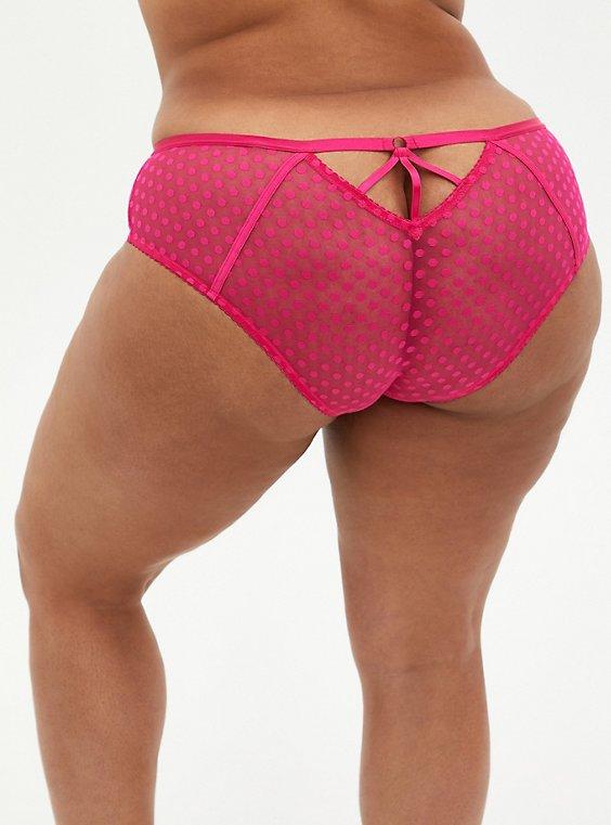 Pink Dot Mesh Cage Back Hipster Panty, BEET ROOT PINK, hi-res
