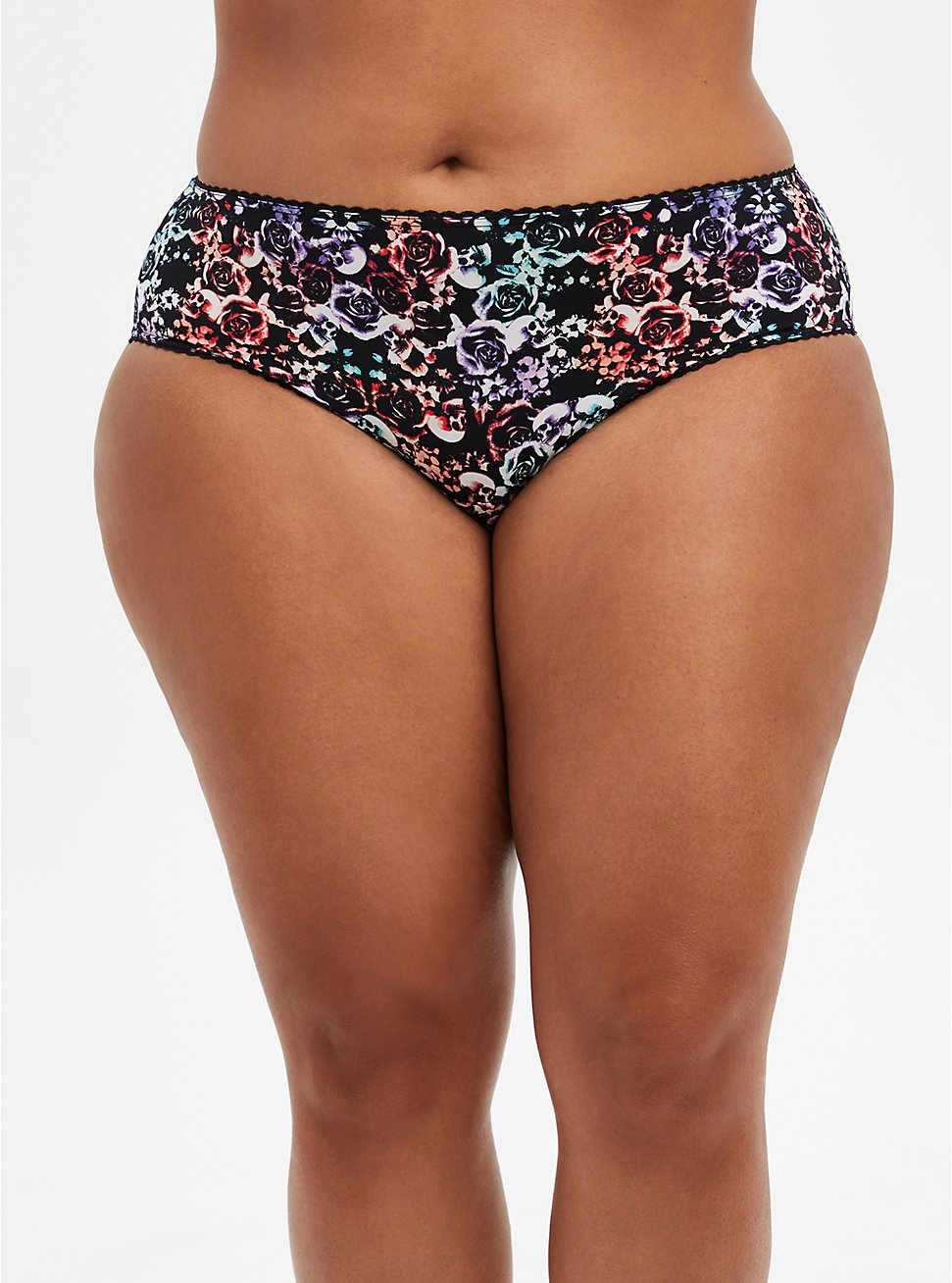 Mirrored Skull Second Skin Cage Back Hipster Panty, MIRRORED SKULL FLORAL, hi-res