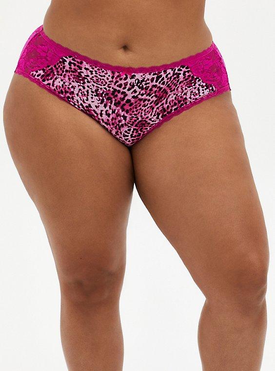 Leopard Microfiber & Lace Lattice Hipster Panty, MYSTIC LEOPARD FESTIVAL FUSCHIA PINK, hi-res