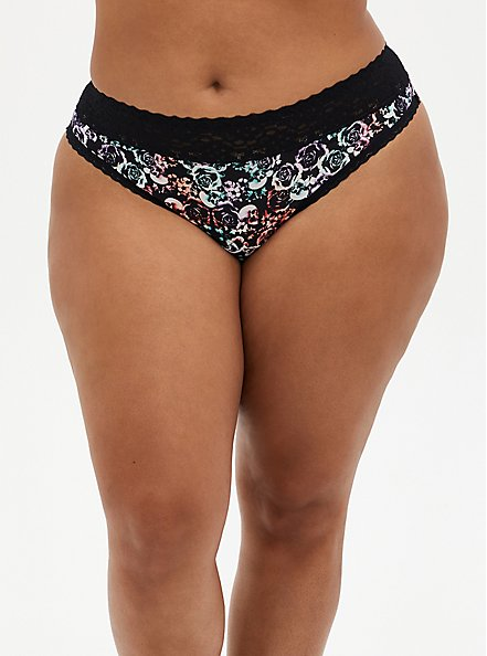 Mirrored Skull Second Skin Thong Panty, MIRRORED SKULL FLORAL, hi-res